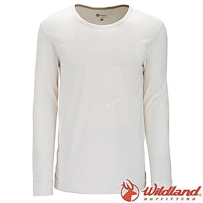 Wildland 荒野 W2656-81米白色 男遠紅外線保暖U領衛生衣