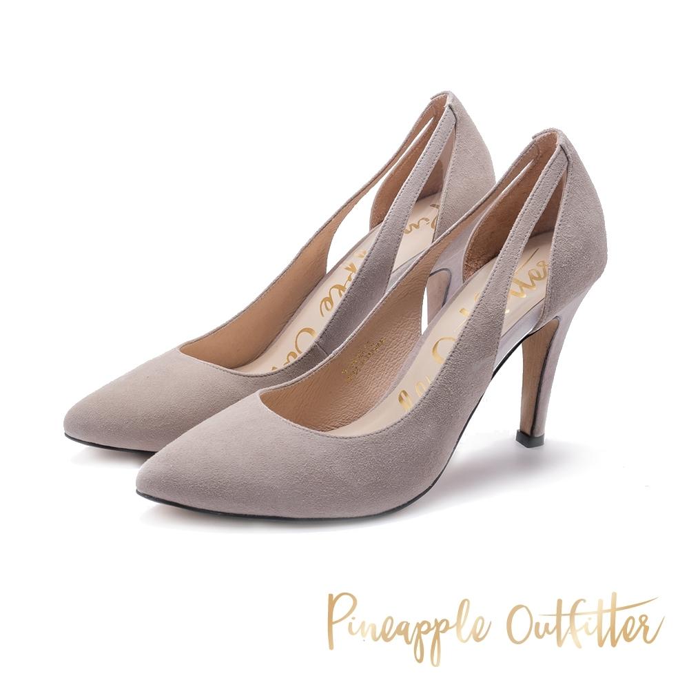 Pineapple Outfitter-PLLINA派對女神尖頭麂皮高跟鞋-絨灰色