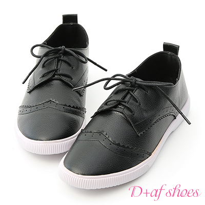 D+AF 流行百搭.雕花綁帶平底小白鞋*黑