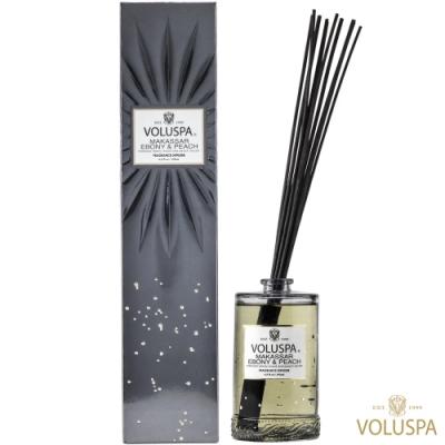 美國香氛VOLUSPA 華麗年代系列 黑檀子&桃子 浮雕玻璃罐室內擴香192ml