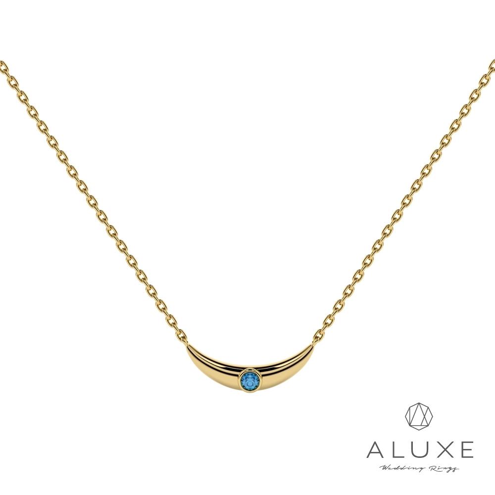 ALUXE 亞立詩Be My World阿拉丁系列 10K金藍色之眼寶石鎖骨鍊