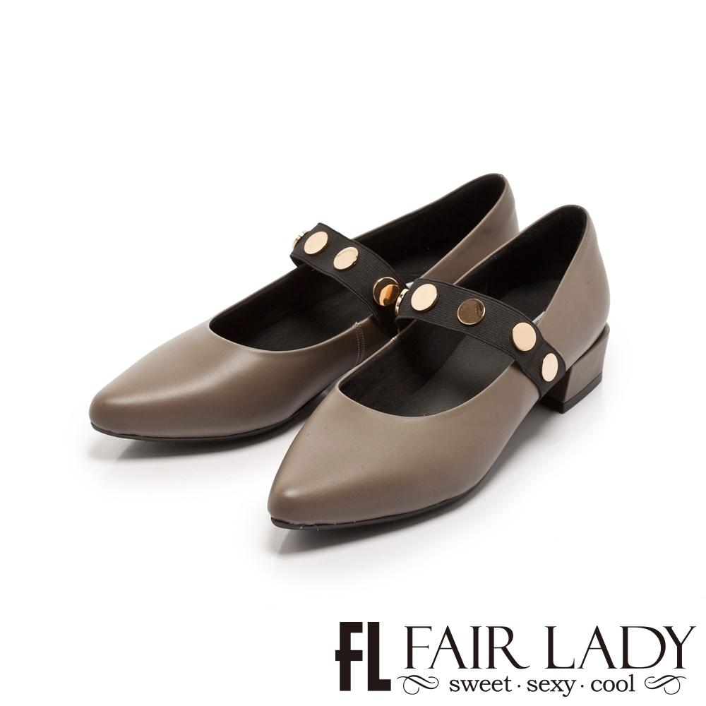 FAIR LADY 金屬釦繞帶尖頭低跟鞋 灰