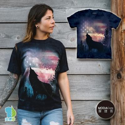 摩達客-美國進口The Mountain 愛國狼嚎 純棉環保藝術中性短袖T恤