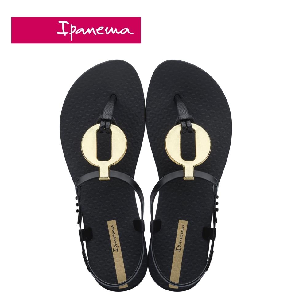 IPANEMA  CLASS  VITTA圓型金屬感造型T字涼鞋-黑