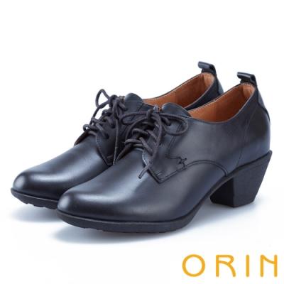ORIN 英倫時尚 嚴選蠟感牛皮綁帶粗跟裸靴-黑色