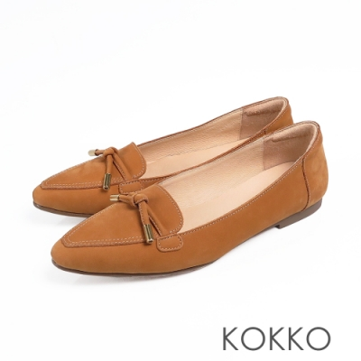 KOKKO流金歲月軟底彎折小方頭平底鞋咖啡棕