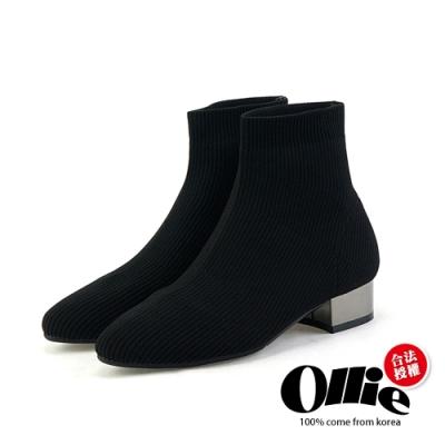 Aviator韓國空運-時尚低跟瘦腿襪套靴-ollie預購