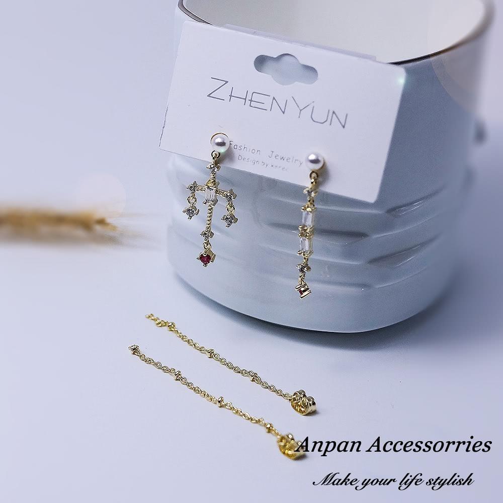 【全館五折】ANPAN愛扮925銀針 韓東大門巴洛克風水鑽粉色十字架前後扣一款二戴耳環
