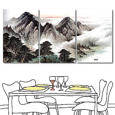 橙品油畫布 三聯式直幅 掛畫無框畫-高山水墨圖40x60cm