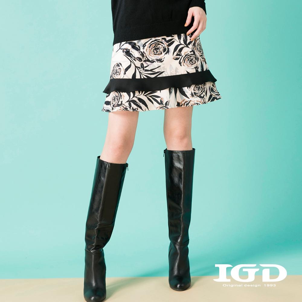 IGD英格麗 雙層荷葉下擺花卉印花裙-米白