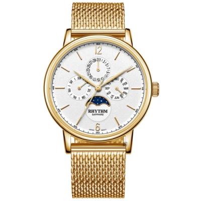 RHYTHM 日本麗聲 都會時尚日月相日期手錶-40mm FI1608S03
