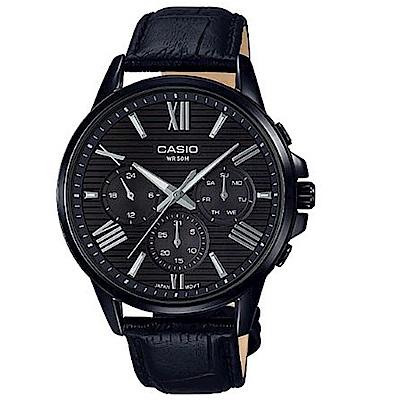 CASIO羅馬風格簡約橫條紋時尚皮帶腕錶(MTP-EX300BL-1)/43.8mm