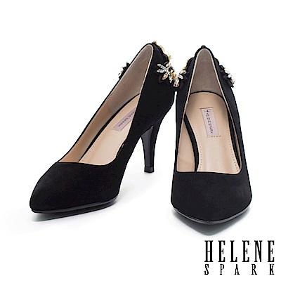 高跟鞋 HELENE SPARK 奢華珍珠水鑽造型全真皮尖頭高跟鞋-黑