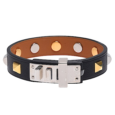 HERMES Mini Dog銀色轉釦方形雙色鉚釘裝飾Swift小牛皮手環(黑)
