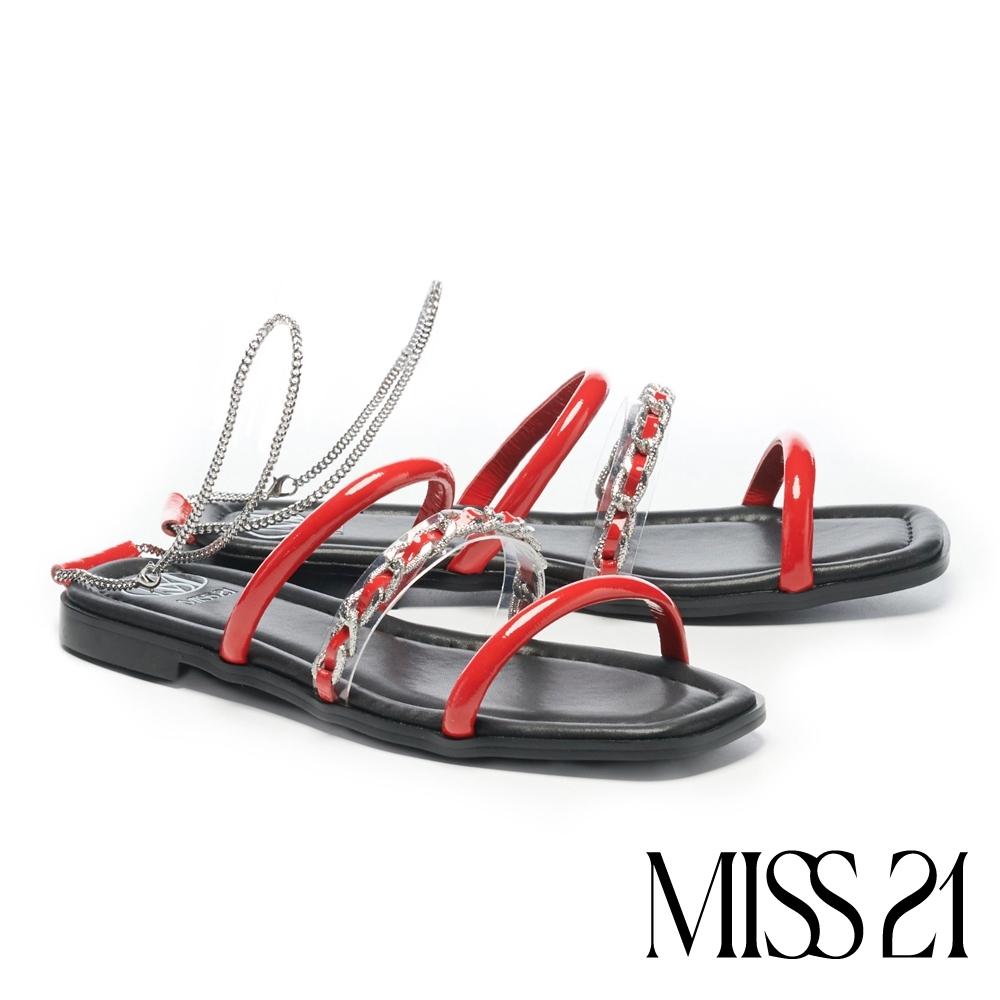 拖鞋 MISS 21 前衛叛逆異材質繫帶鏈條方頭低跟拖鞋-紅