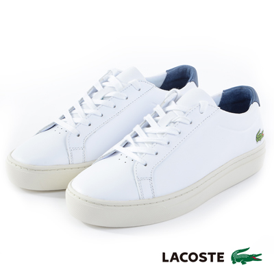LACOSTE 女用真皮運動休閒鞋-白色