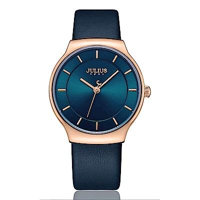 JULIUS聚利時 專屬誓言簡約時尚皮錶帶腕錶-午夜藍/38.5X42.5mm
