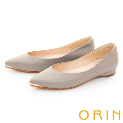 ORIN 流線金屬真皮尖頭 女 平底鞋 灰色