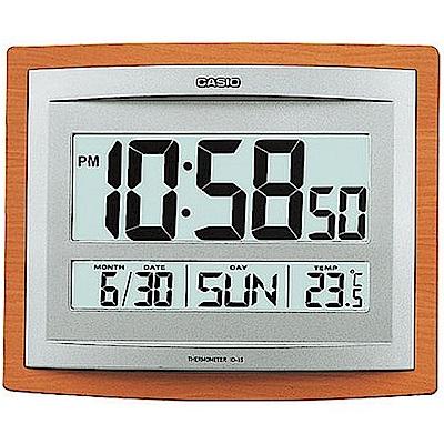 CASIO 大字幕數位溫度顯示木紋掛鐘/座鐘兩用(ID-15-5)