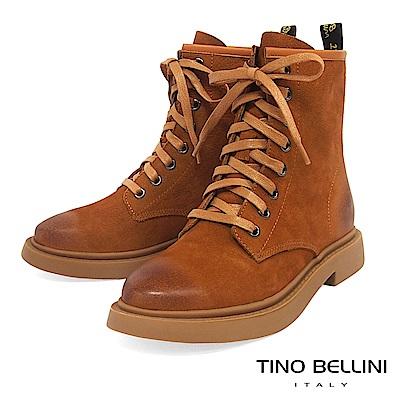 Tino Bellini率性牛皮擦色況味綁帶短靴_棕
