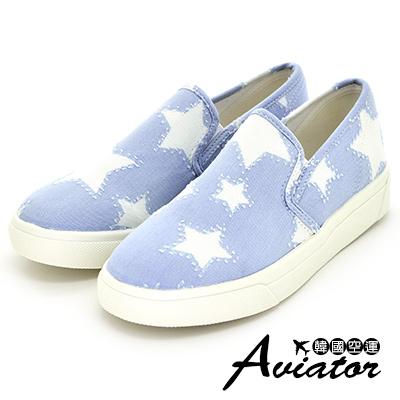 Aviator*韓國空運-正韓製牛仔帆布星星拼接懶人休閒鞋-淺藍