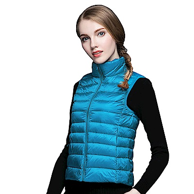 【KISSDIAMOND】超輕防風保暖天然90+羽絨背心女款湖藍