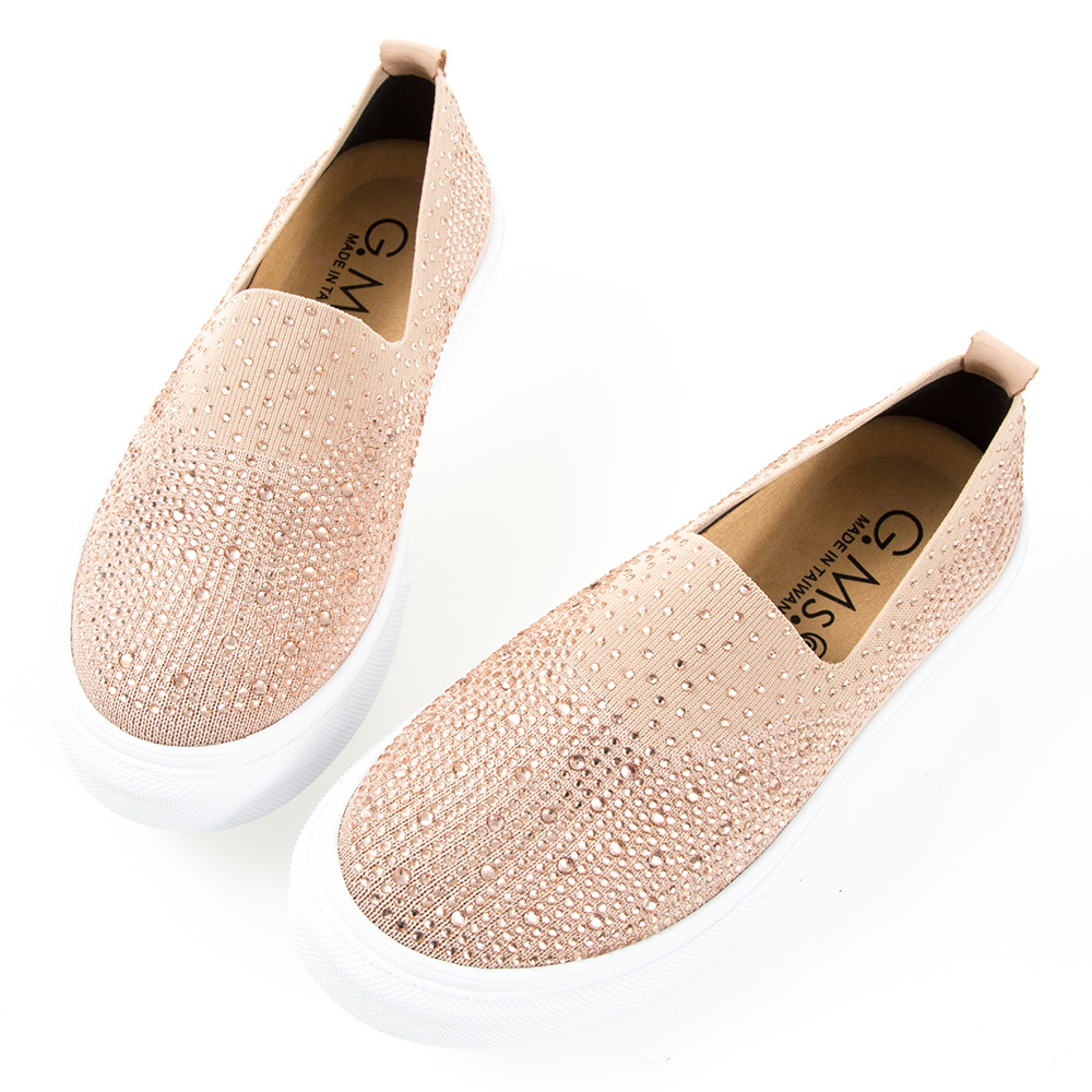 G.Ms. MIT系列-極輕量貼鑽針織布懶人休閒鞋-粉色