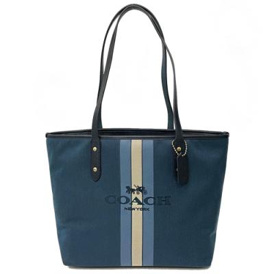 COACH 新款刺繡馬車LOGO肩背托特包(配色藍)