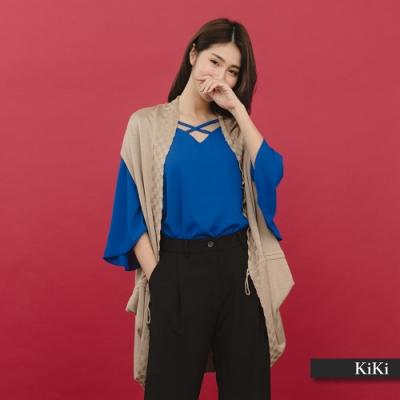【KiKi】開襟剪裁綁帶罩衫-針織衫(三色)