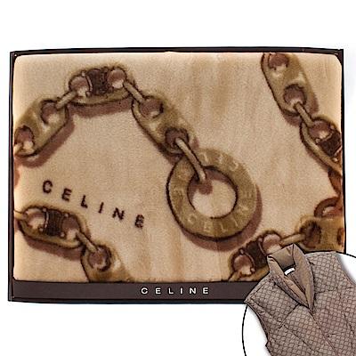 CELINE 經典鎖鏈LOGO保暖絨毛蓋毯-大/駝色(贈羽絨背心)