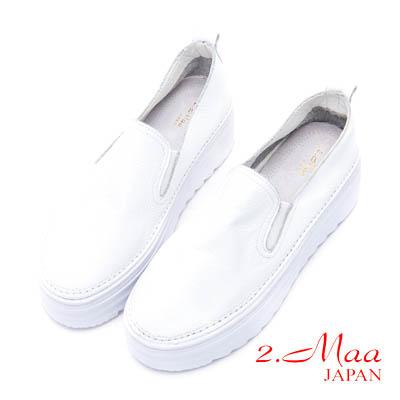 2.Maa-舒適簡約厚底牛皮樂福鞋-白