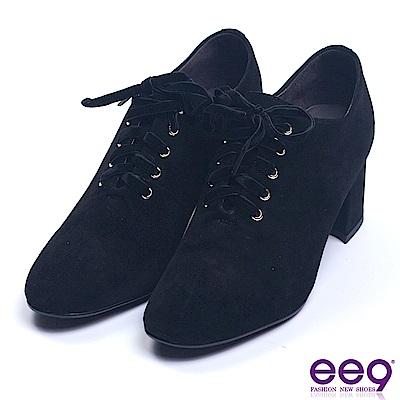 ee9 英倫魅力羊麂皮綁帶牛津粗跟鞋 黑色