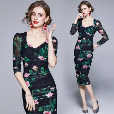 優雅玫瑰網紗皺褶包臀曲線洋裝L-2XL-M2M