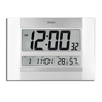 SEIKO 精工 / 大字幕 日期 溫溼度顯示 座鐘 掛鐘 電子鐘 / 銀白色 / QHL088W