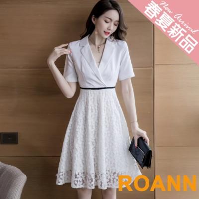OL風拼接縷空蕾絲短袖洋裝 (白色)-ROANN