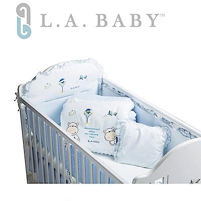 美國 L.A. Baby  田趣風光MIT純棉七件式寢具組- L (藍色/粉色)