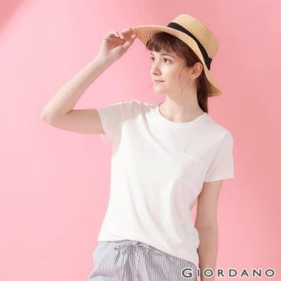 GIORDANO 女裝寬版素色圓領口袋T恤-16 皎雪