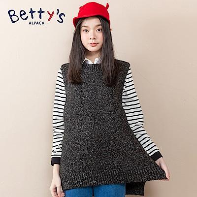 betty's貝蒂思 下擺開衩無袖針織毛衣(黑色)