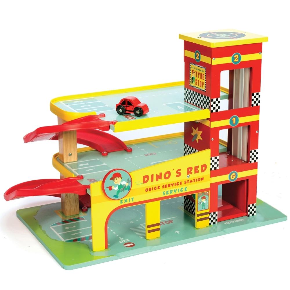 英國 Le Toy Van 小小工程師系列-小汽車維修保養場大型玩具組