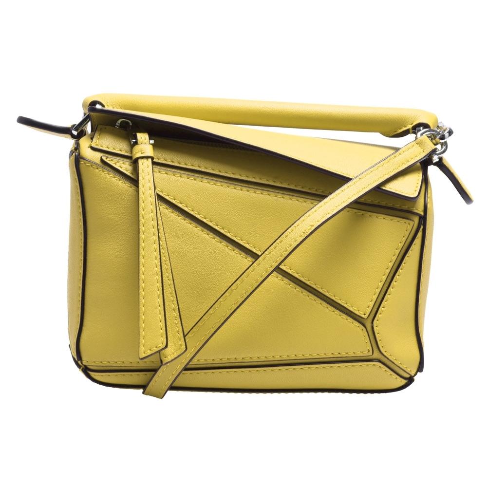 LOEWE PUZZLE BAG系列小牛皮幾何拼接設計手提/肩背包(迷你-黃色)