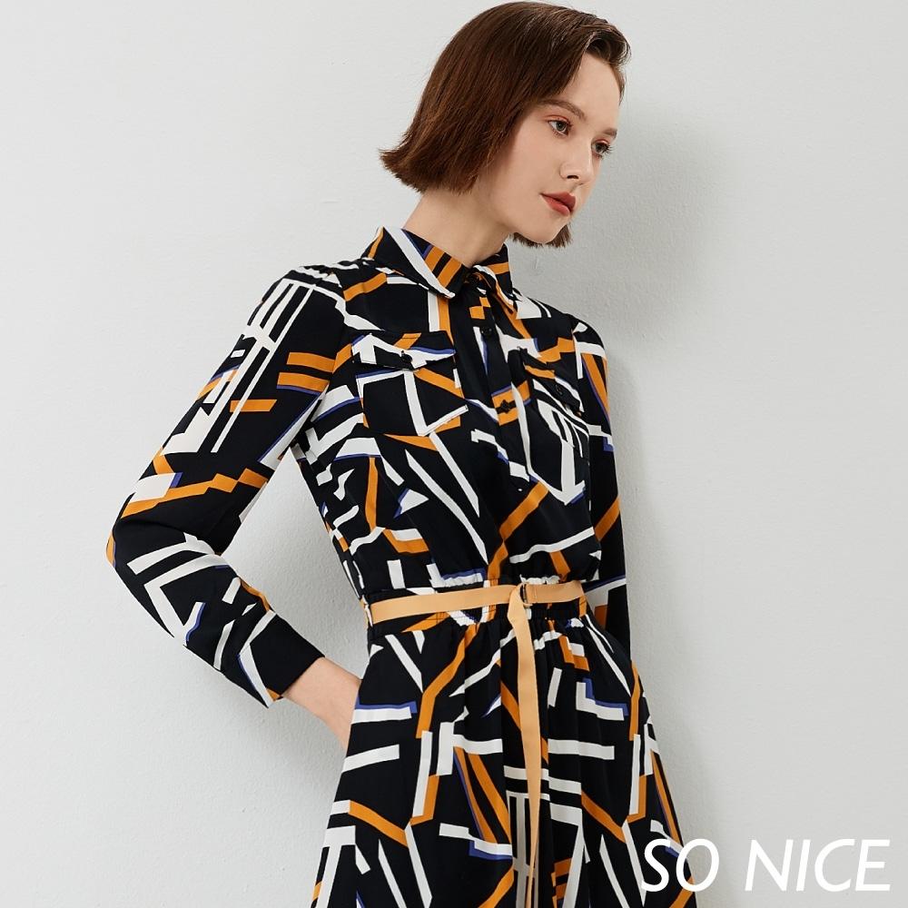 SO NICE亮麗幾何印花襯衫式洋裝