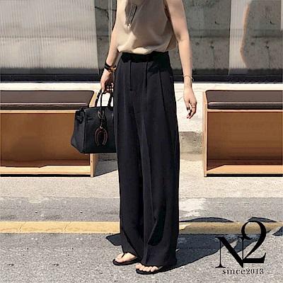 褲子 正韓打折顯瘦防皺材質直筒西裝褲(黑) N2
