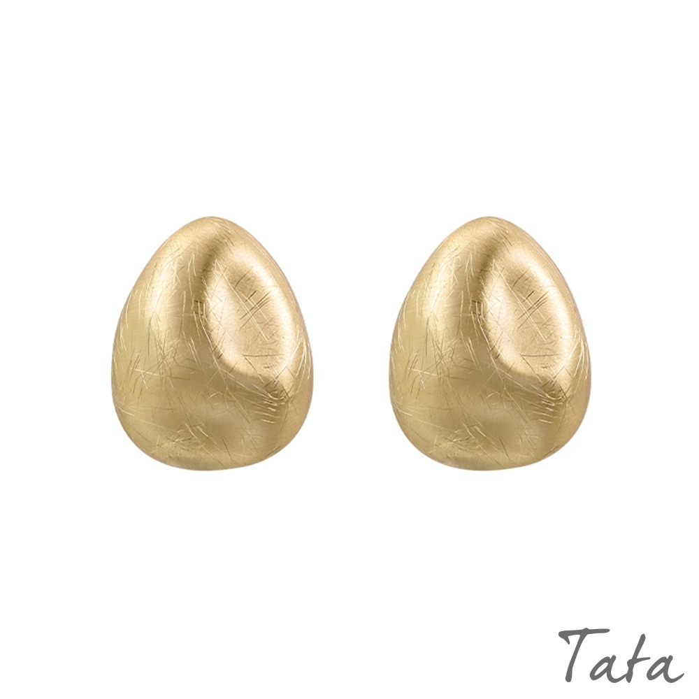 刮痕豌豆形耳環 TATA
