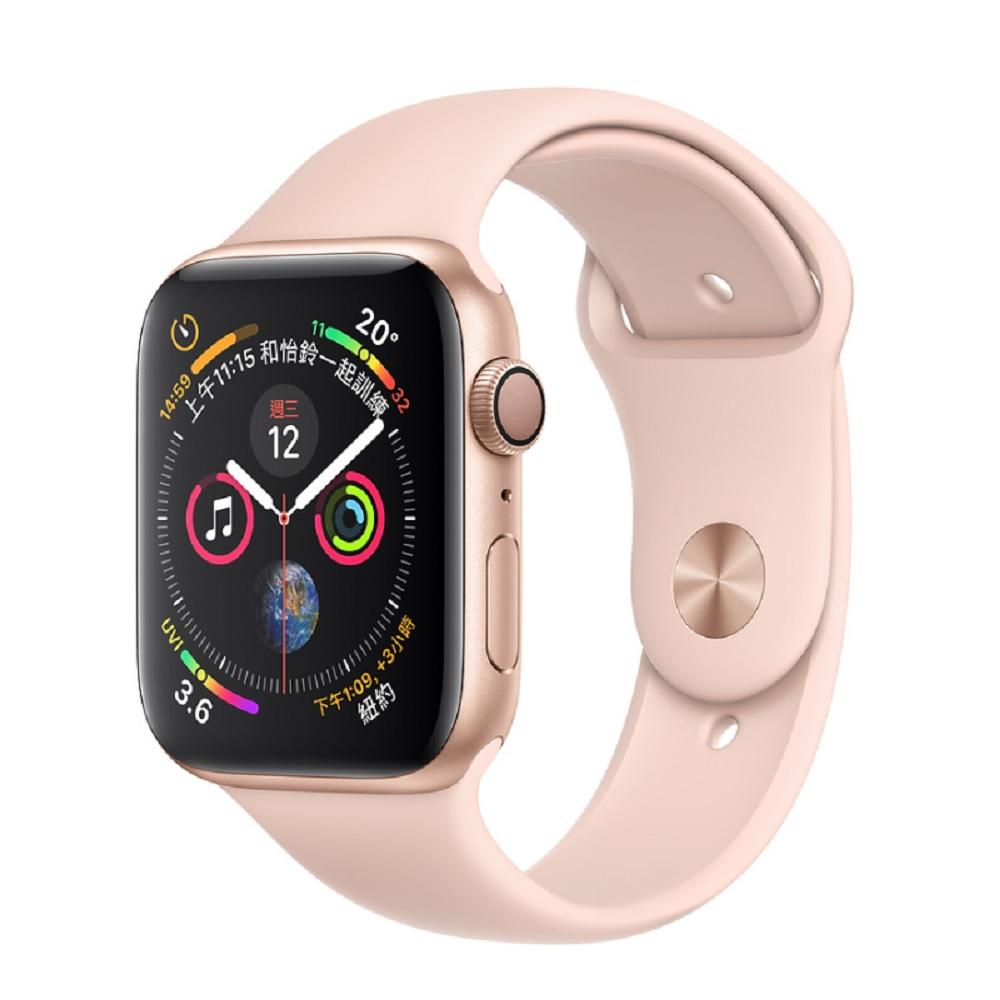 [無卡分期-12期]Apple Watch S4 44mmGPS版金色鋁金屬錶殼粉沙色錶帶