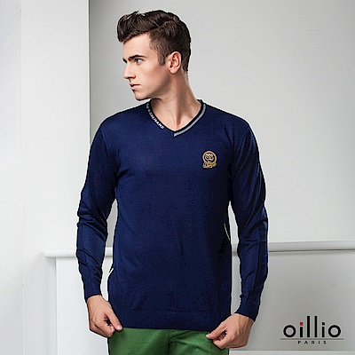 歐洲貴族oillio 長袖線衫 老虎電繡 紳士V領 藍色