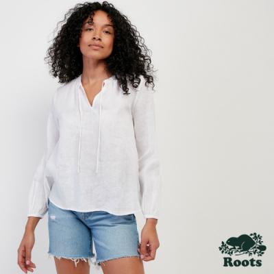 女裝Roots- 鄉村風平織上衣-白色