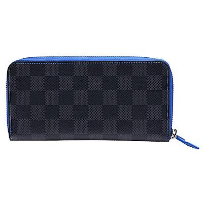 LV N64031 Vasco系列Damier Graphite棋盤格帆布全開拉鍊長夾-藍