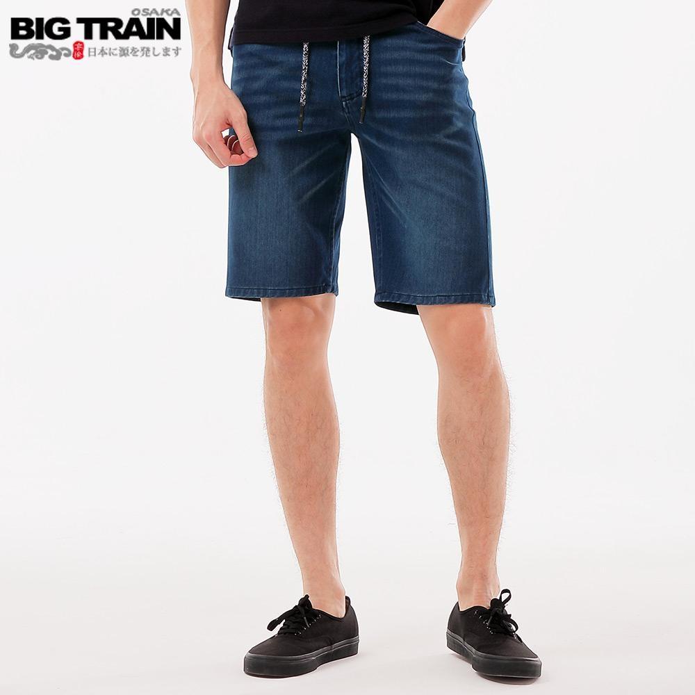 BigTrain 加大吸排汗針織丹寧短褲-男-深藍