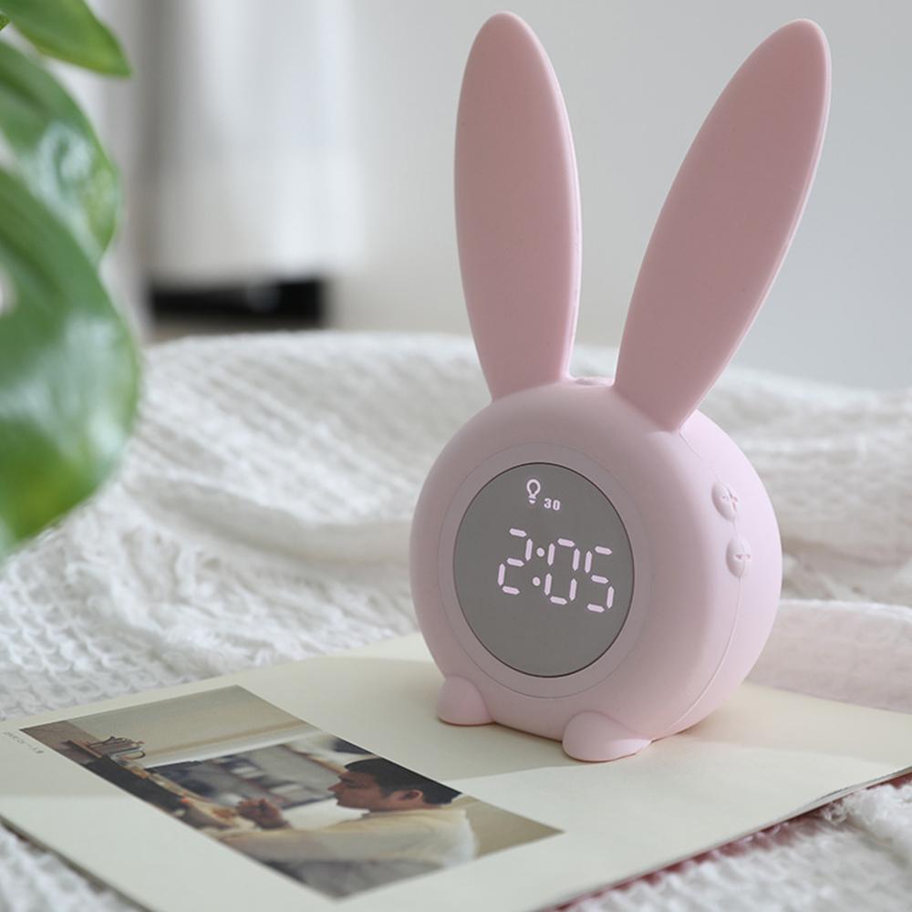 萌兔定時夜燈/伴睡燈+鬧鐘 聲控 USB充電