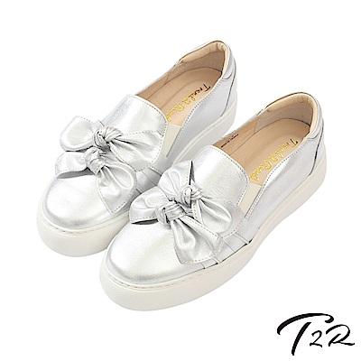 【T2R】全手工真皮氣質蝴蝶結懶人鞋/樂福鞋-銀